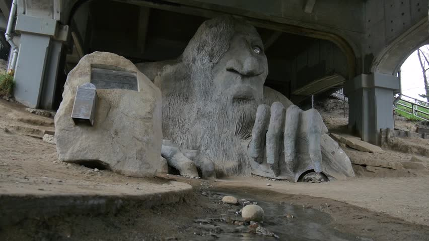 Seattle, Washington - March, 2014 - The Fremont Troll under the George Washington Memorial Bridge.