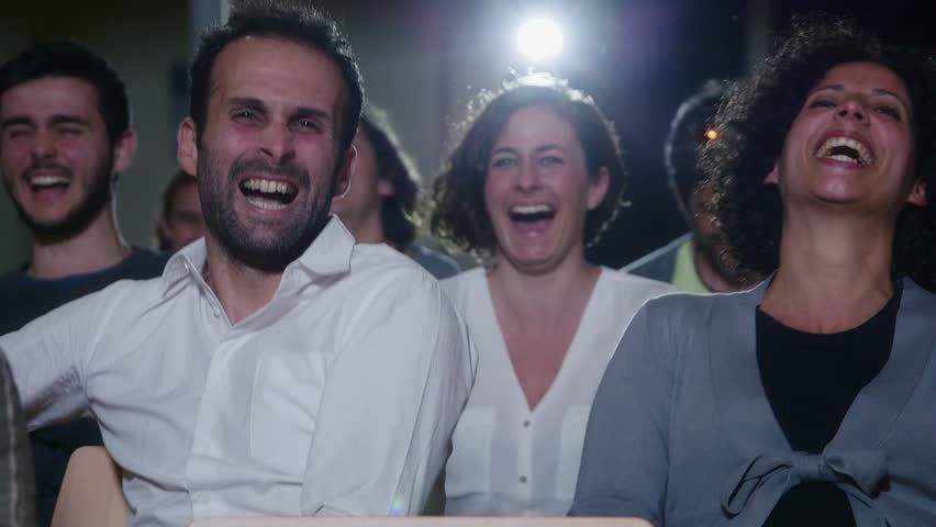 Arts, entertainment, show business, cinema, theater, people, movie, drama. Men and woman watching film, movie, comedy and laughing. 9of13 #6398057