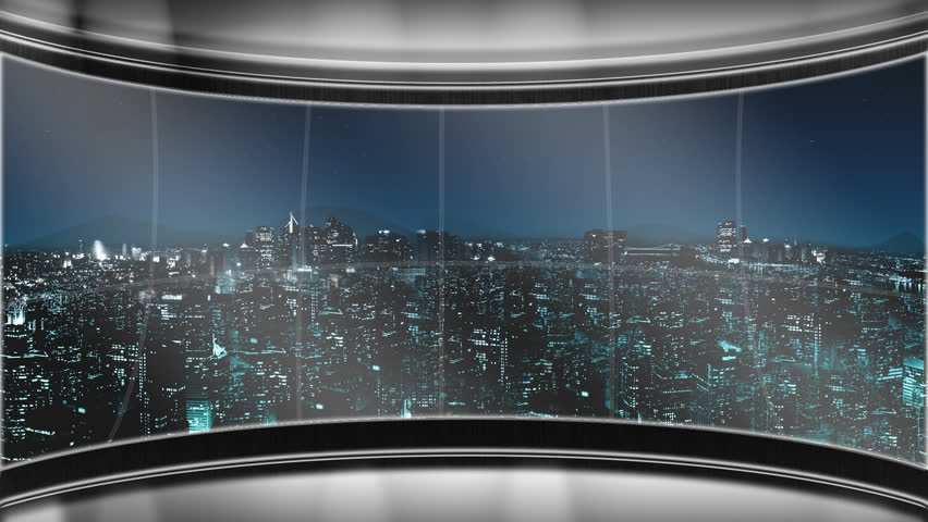 Virtual News set with large window looking out to a nighttime city skyline