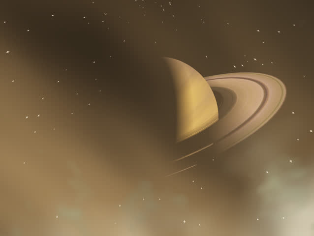 Space flight Journey to Saturn through gas clouds. Easy editing and segmenting. Original Animation