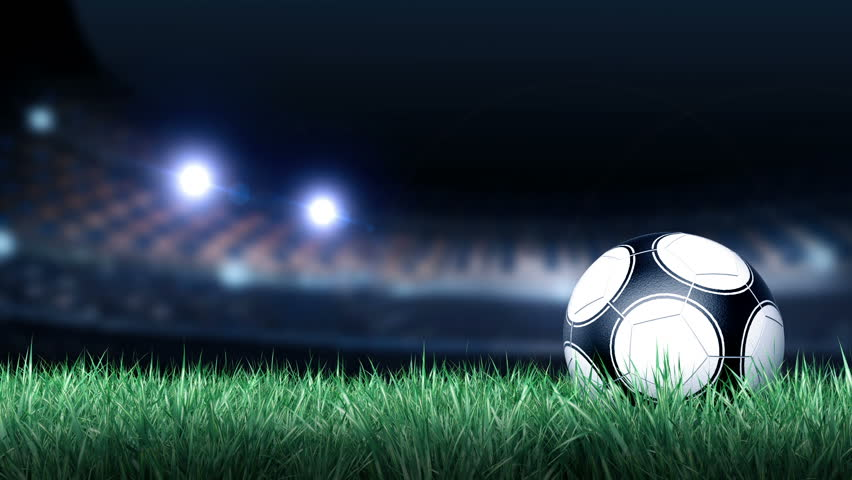 Soccer ball on grass field in stadium background for use in motion graphic intro title hd - Soccer stadium hd ...