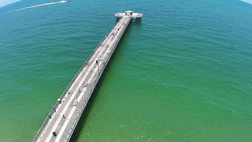 Aerial footage of the pompano beach pier stock footage for Pompano fishing pier