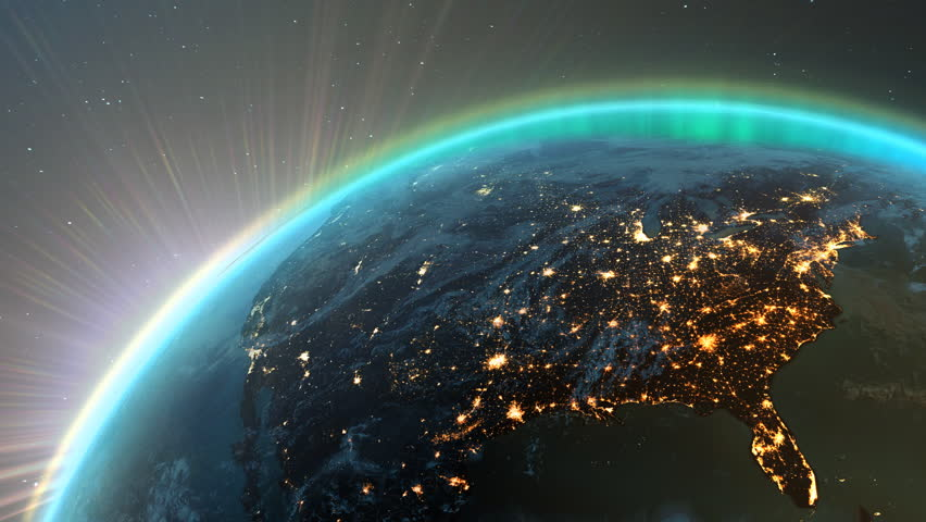New highly detailed earth. America zone with aurora, night time and sunrise . 3D Render using satellite imagery (NASA). | Shutterstock HD Video #6479489