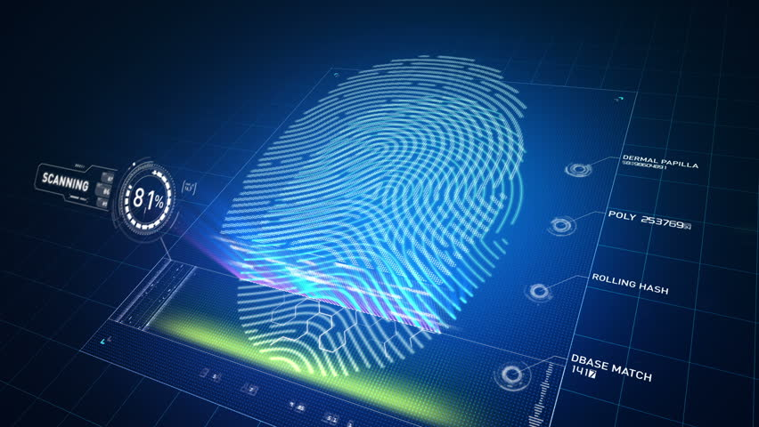 Biometric scanner analyzes and approves a finger print left by an anonymous Caucasian male