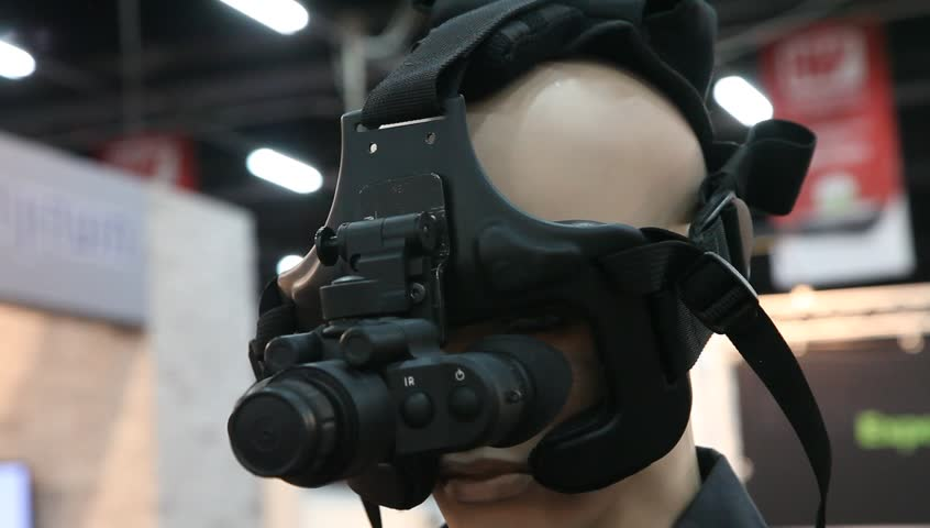TEL AVIV, ISRAEL - MAY 28: Night vision goggles presented by LHV during SecurityIsrael International Security and Defense week conference and expo, May 28th, 2014 - HD stock video clip