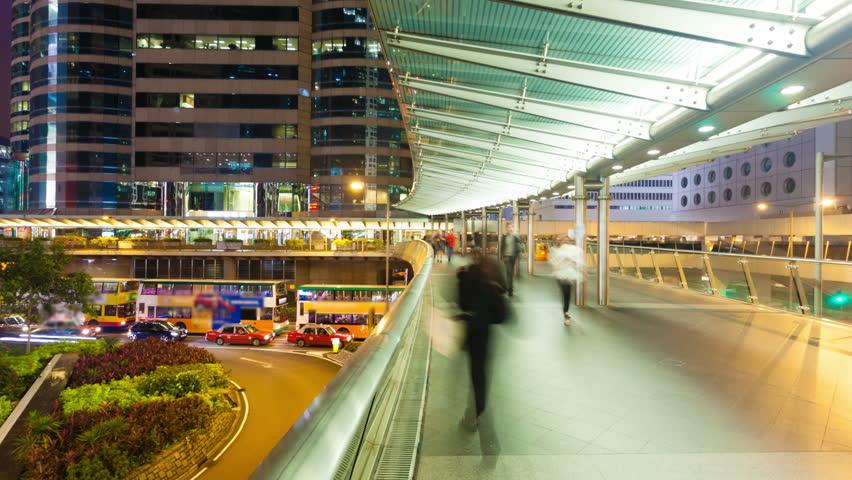 4k hyperlapse video of commuters on a walkway - 4K stock video clip