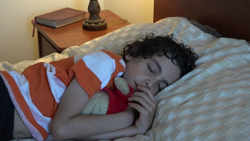 Young Hispanic child sleeping or taking a nap with his favorite stuffed toy. Cute boy in bed resting with a toy.