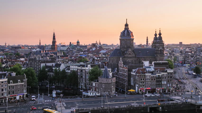 Amsterdam skyline at sunset (the Netherlands)