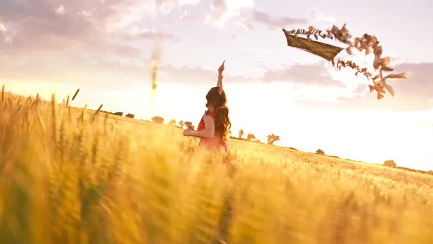 Beautiful Girl Running Summer Field Sunset Kite
