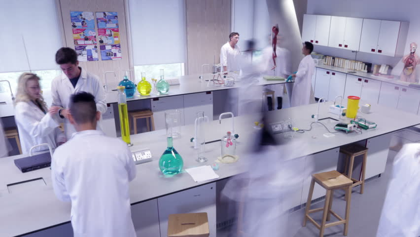 Modern Science Classroom ~ Time lapse group of students working in science class
