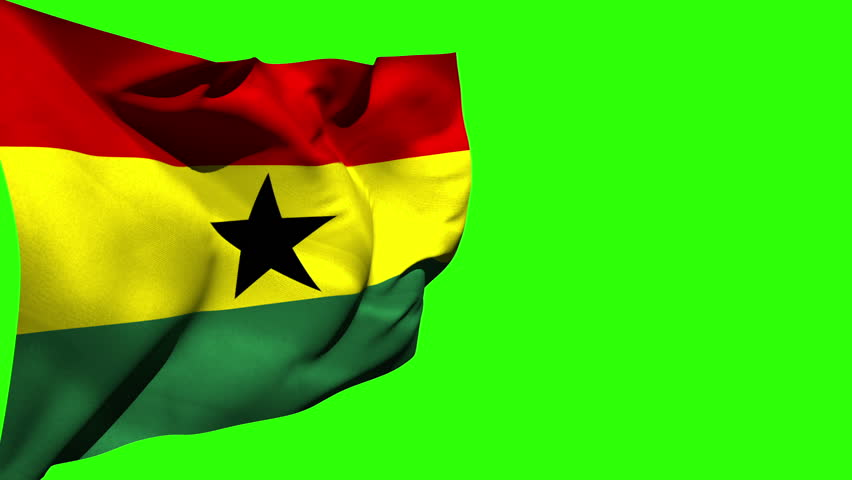 Large ghana national flag blowing on green screen background | Shutterstock HD Video #6567383