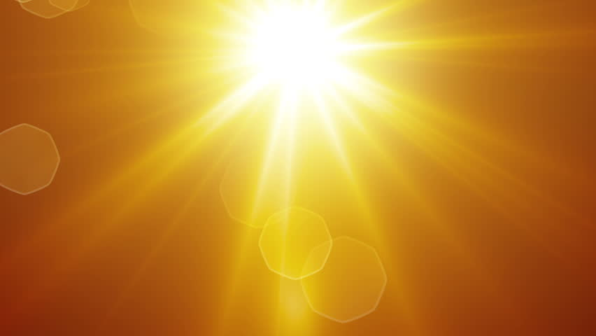 yellow sun rays and lens flare computer generated