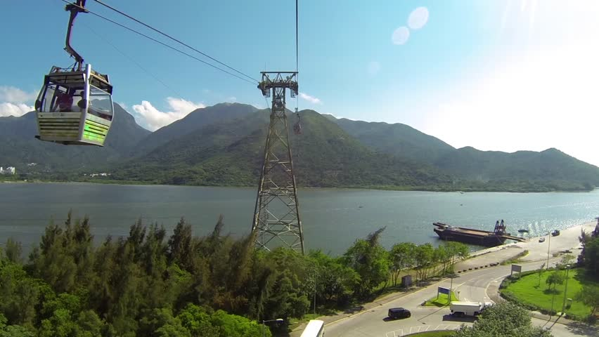 Cable Car way to mountains above the river