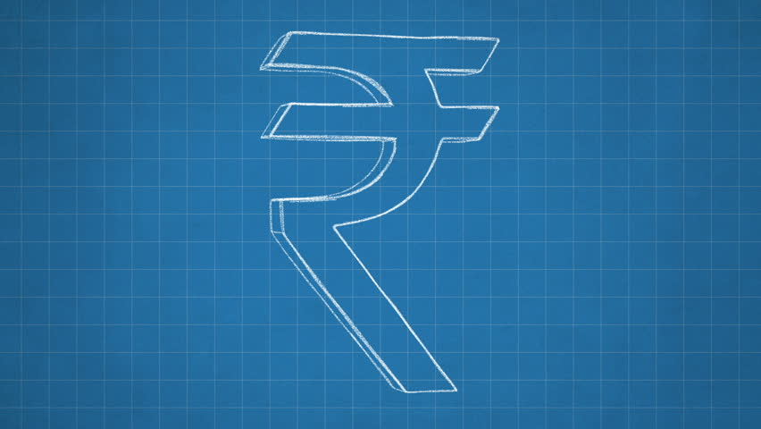 Hand drawn rupee sign rotating on the blueprint paper. Seamless loop animation. Another versions available - check my profile. - HD stock video clip