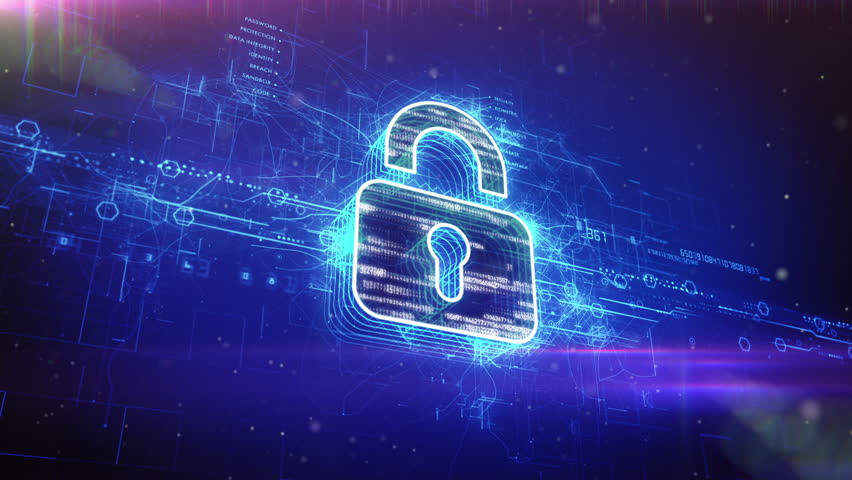 Abstract animation of a digital padlock in cyber space		 - HD stock video clip