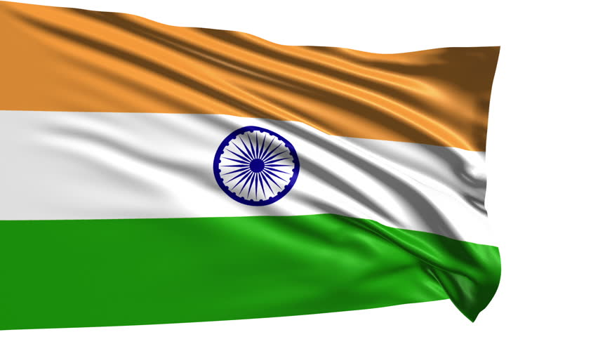 For Indian Flag Hd Animation: Flag Of India Waving In The Wind Against Blue Sky. Three