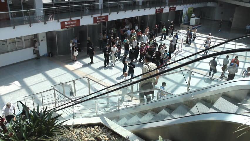 Novi sad serbia may 28 2014 staircase crowd people hurry business