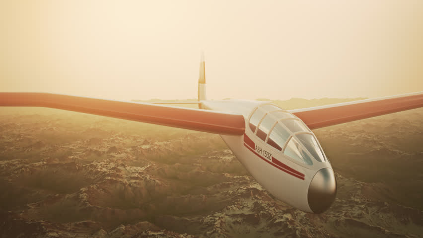 Sepia toned animation of a sailplane soaring over snow covered mountains.