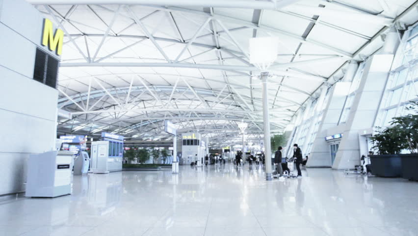 Incheon, South Korea - Nov 23, 2011: POV timelapse of Incheon airport departures hall