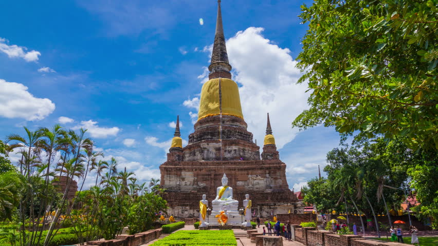 4k Timelapseof Old Temple Pagoda, Wat Yai Chai Mongkol At ...