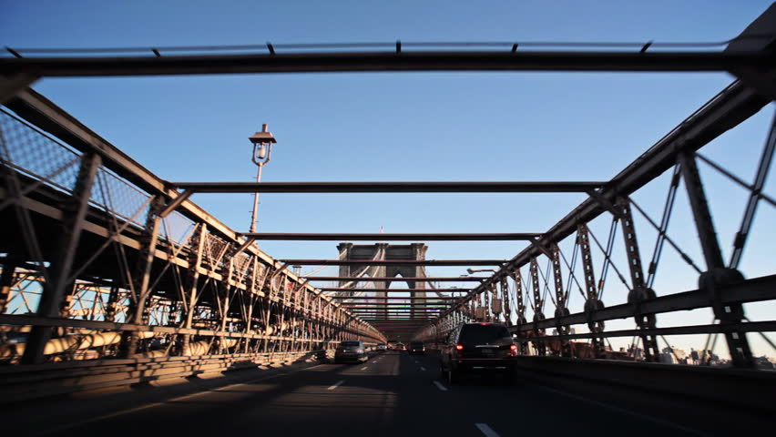 Driving over Brooklyn Bridge from New York City to Brooklyn