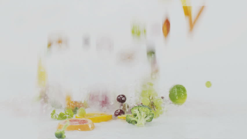 vegetables and fruit falling down on slow speed