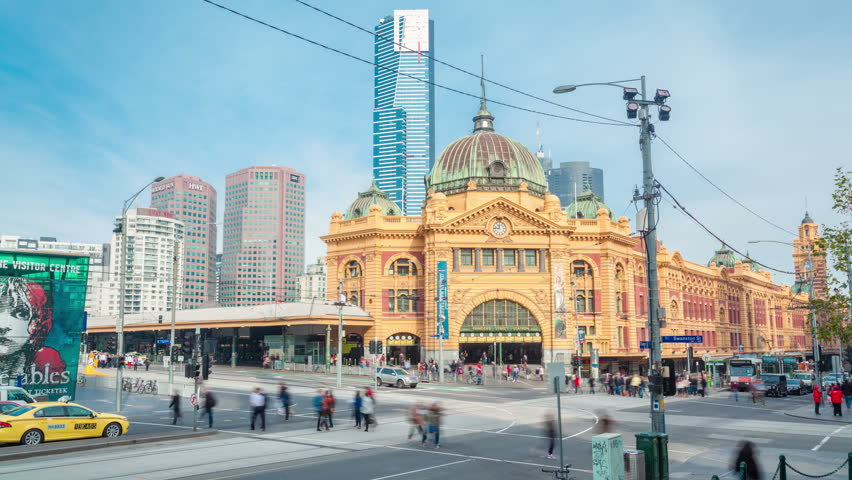 Melbourne, Australia - Jul 21: 4k timelapse video of Flinders Street station in Melbourne in daytime on Jul 21, 2014. The station is one of the busiest passenger stations in Australia.