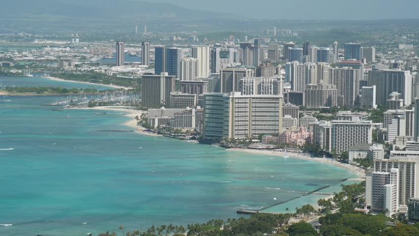 Honolulu, Hawaii - June, 2014 - Close up of Waikiki from Diamond Head.