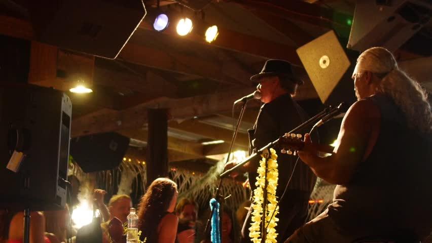 Pahoa, Hawaii - May, 2014 - Close up of the dance floor at a night market in Kalapana.