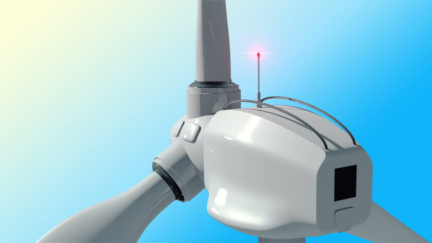 Animation of rotation windmill turbines. Clean energy of wind. Wind power generators on sky background with green tree. Animation of seamless loop.  - HD stock video clip
