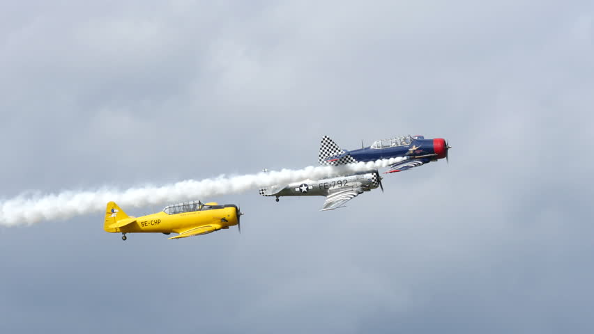 SKAVSTA, SWEDEN - AUG 31: SAAB SK16 planes flying in an airshow, August 31, 2014 at Skavsta, Sweden, 4k.