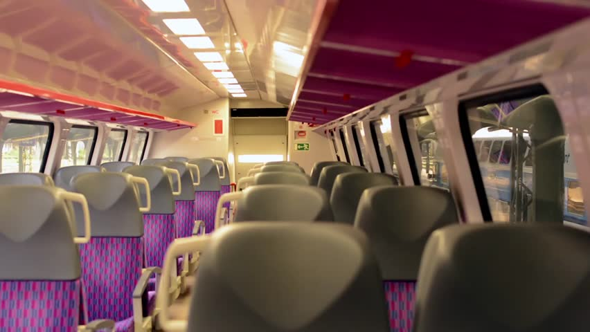 Train - Interior - Seats - Door In The Background Stock Footage Video 7208647 - Shutterstock