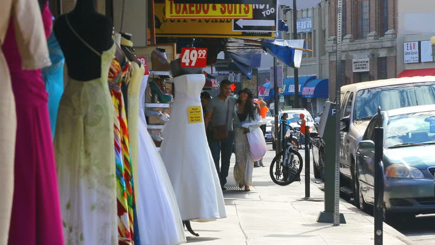 Los angeles california september 7 2014 romantic for Fashion district wedding dresses
