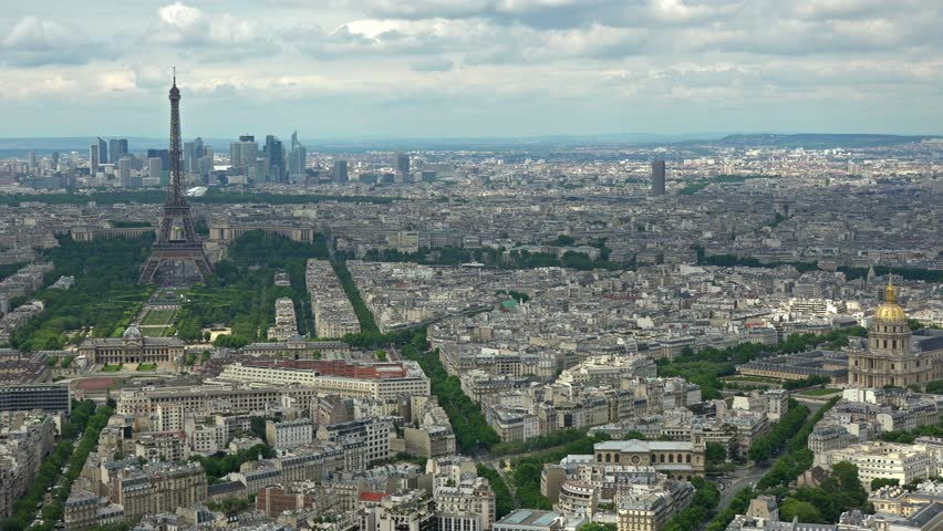 France, Paris Aerial View With Eiffel Tower. Panning ...