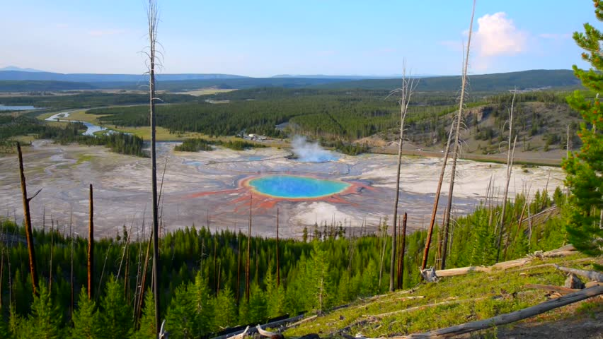 Grand Prismatic as seen above. Yellowstone National Park