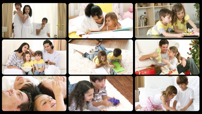 Montage of happy families playing at home in high definition  - HD stock footage clip