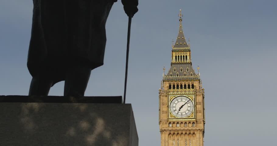 Big Ben, shadows on statue of Winston Churchill. London. June 2014.