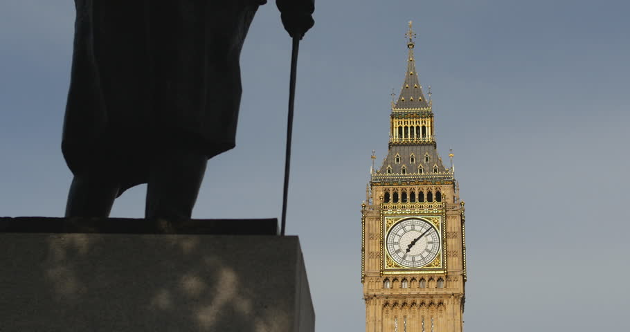 Big Ben, shadows on statue of Winston Churchill. London. June 2014.