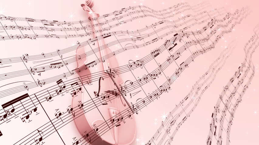 Music notes score and violin.