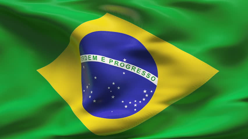 Creased Brazil satin flag with visible wrinkle and seams - HD stock footage clip