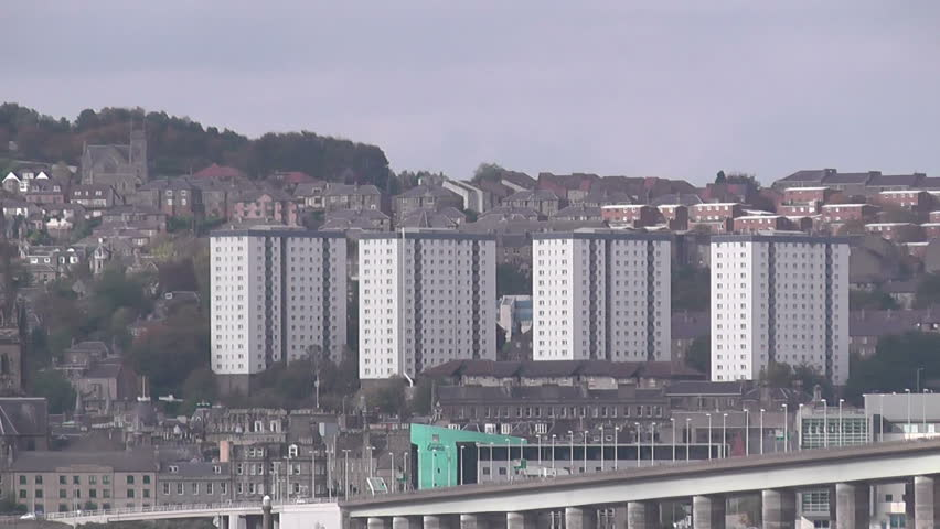 Tay Road Bridge and Dundee waterfront Scotland - HD stock video clip