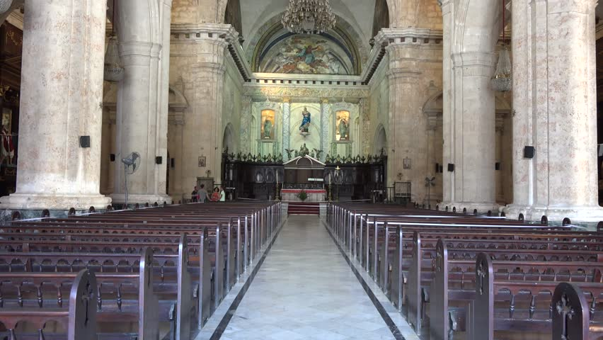 HABANA,CUBA-JULY 4, 2014: Inside the Catholic Cathedral of Old Havana. Old Havana is a UNESCO World Heritage Site and contains the core of the original city of Havana.