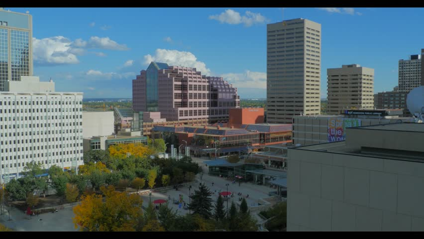 Pan of Churchill Square in downtown Edmonton Alberta from high angle.