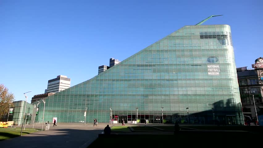 MANCHESTER, UK - NOVEMBER 5, 2014: The National Football Museum is a museum at the Urbis building in Manchester city centre founded to preserve important collections of football memorabilia.
