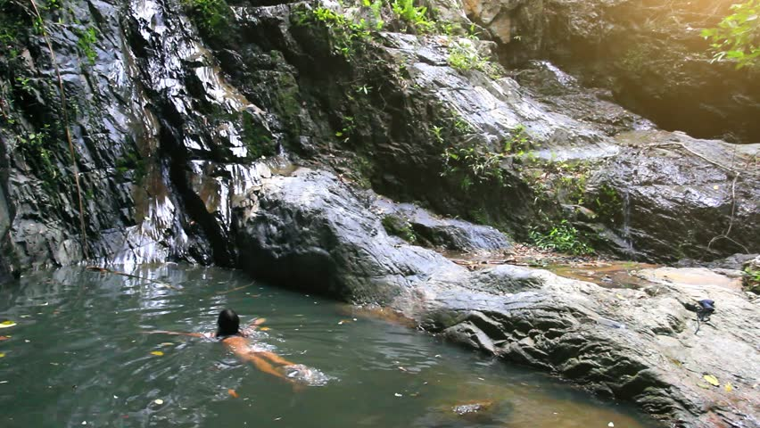 nude boy in waterfalls