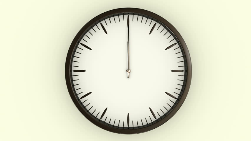Animated Clock Spinning Through Twelve Hours In A Time