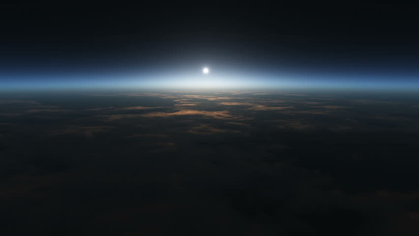 Planet sunrise views in space 4k