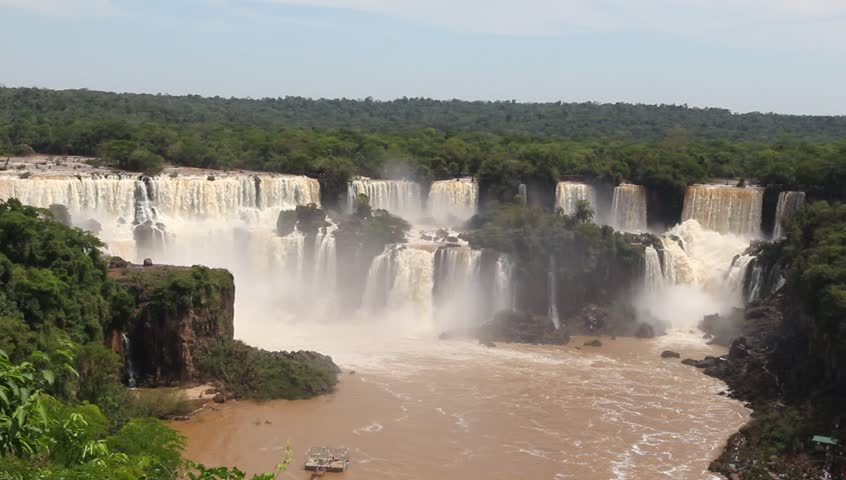 Iguazu Falls - spectacular waterfalls on Brazil and Argentina border. National park and UNESCO World Heritage Site. Seen from Brazilian side.