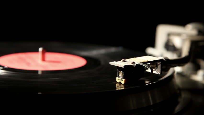 gramophone record on a black background, close-up 3