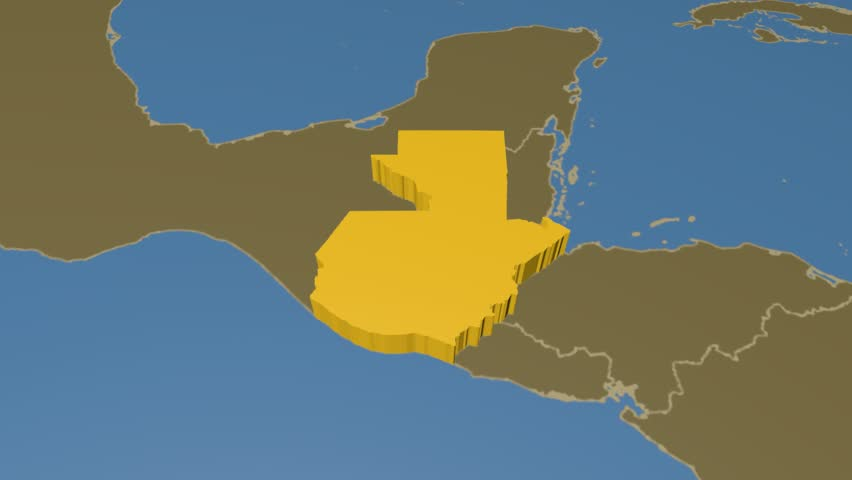 Guatemala extruded on the world map with administrative borders. Solid colors used.
